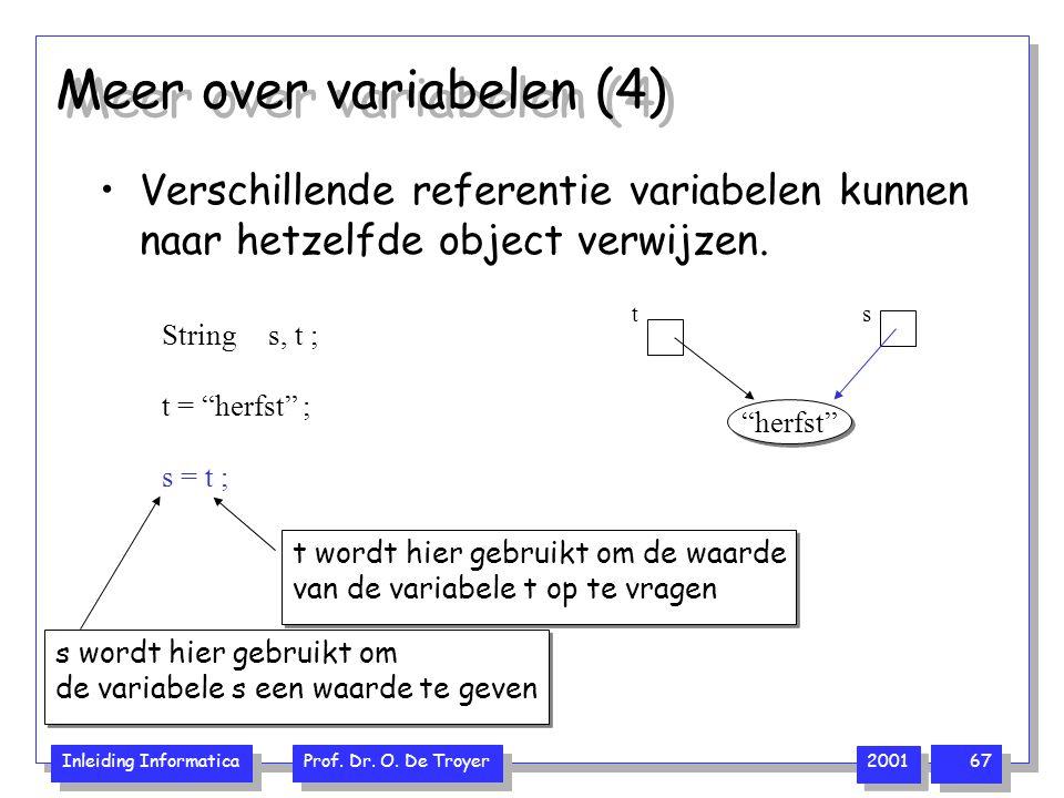 Inleiding Informatica Prof. Dr. O. De Troyer 2001 67 s = t ; Meer over variabelen (4) Verschillende referentie variabelen kunnen naar hetzelfde object
