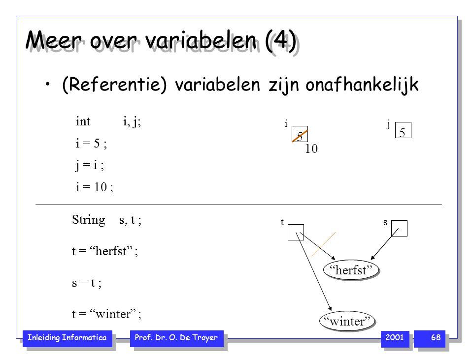 """Inleiding Informatica Prof. Dr. O. De Troyer 2001 68 Meer over variabelen (4) (Referentie) variabelen zijn onafhankelijk s = t ; Strings, t ; t = """"her"""