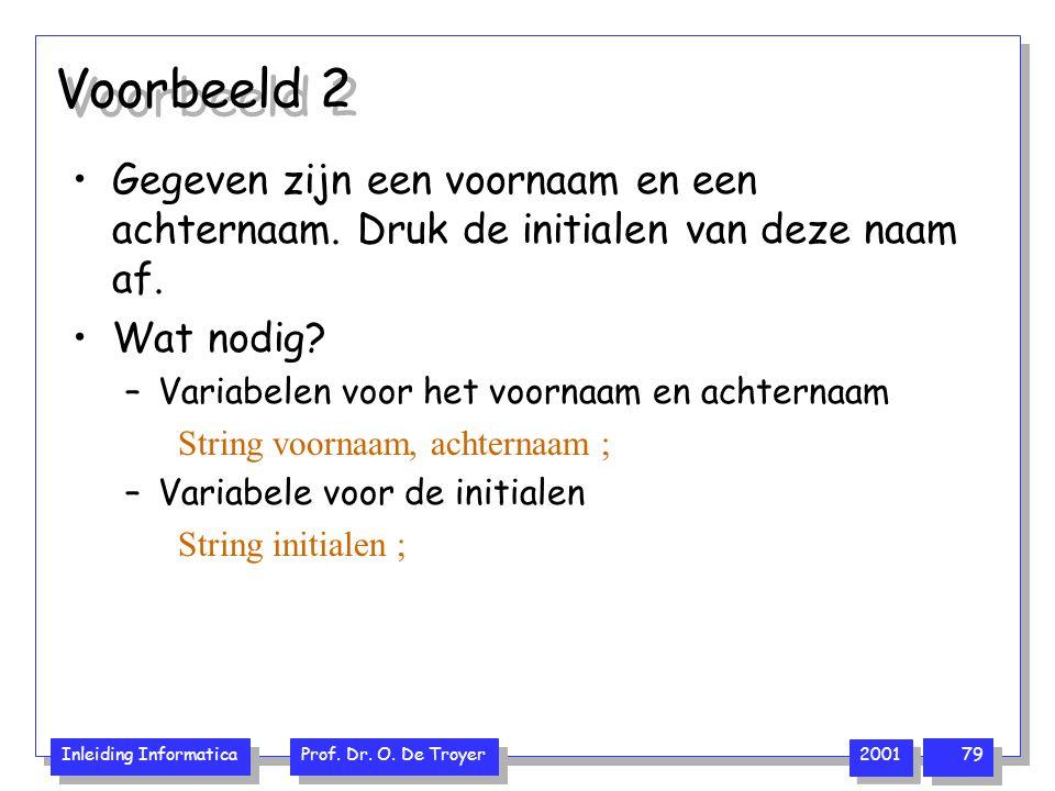 Inleiding Informatica Prof. Dr. O. De Troyer 2001 79 Voorbeeld 2 Gegeven zijn een voornaam en een achternaam. Druk de initialen van deze naam af. Wat