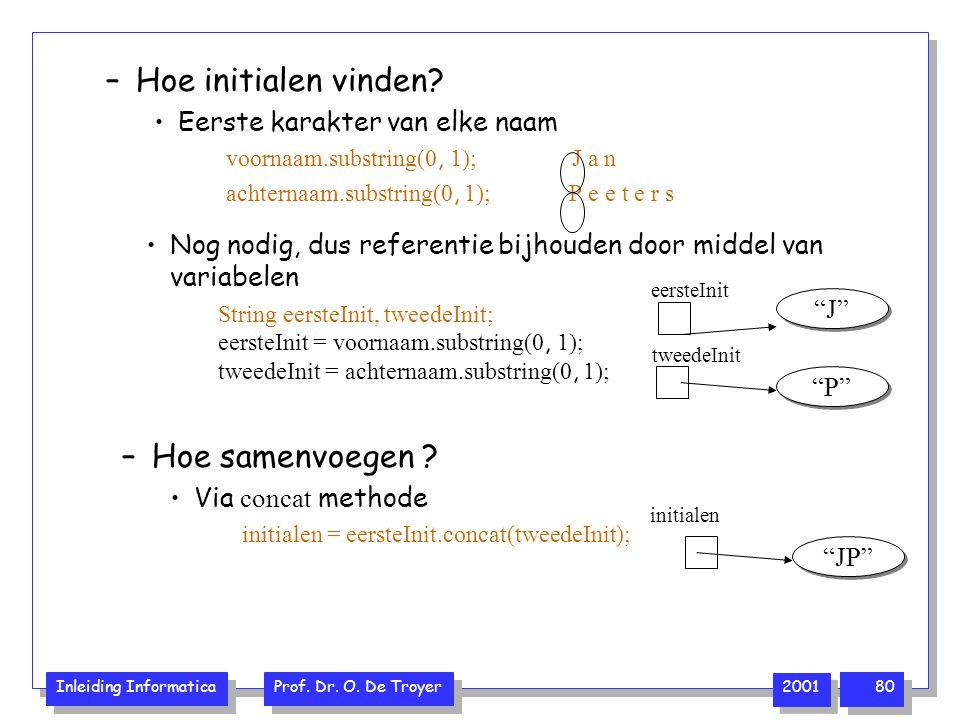Inleiding Informatica Prof. Dr. O. De Troyer 2001 80 –Hoe initialen vinden? Eerste karakter van elke naam voornaam.substring(0, 1); J a n achternaam.s