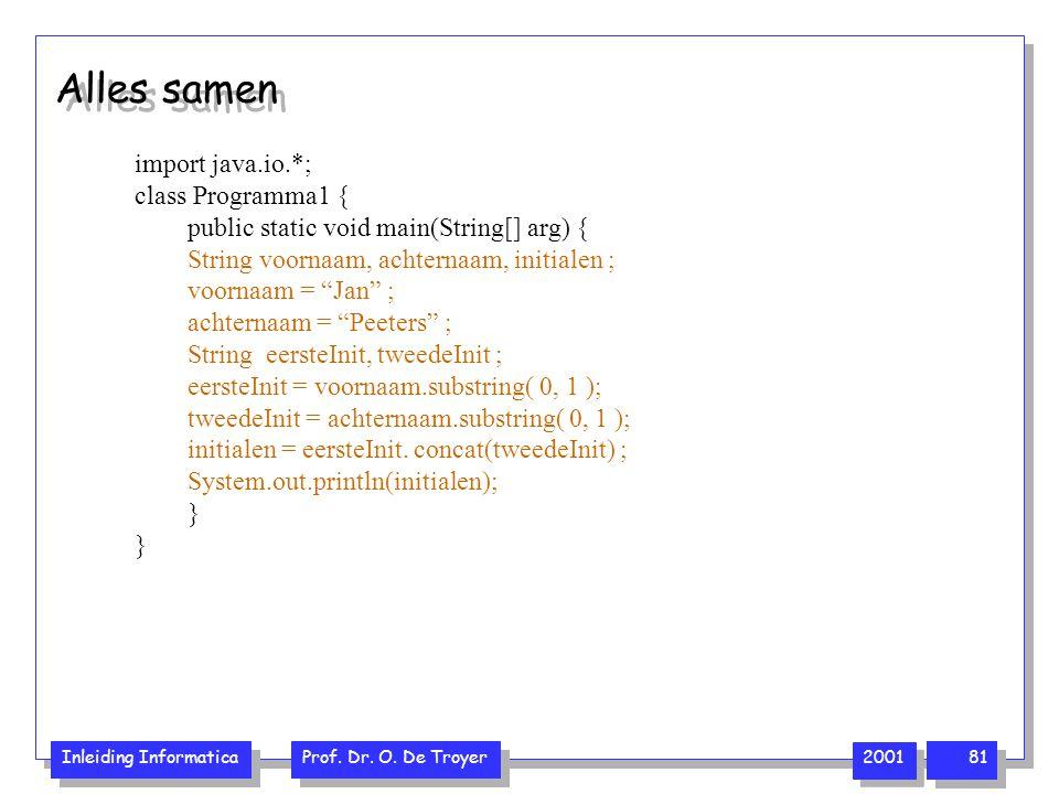 Inleiding Informatica Prof. Dr. O. De Troyer 2001 81 Alles samen import java.io.*; class Programma1 { public static void main(String[] arg) { String v