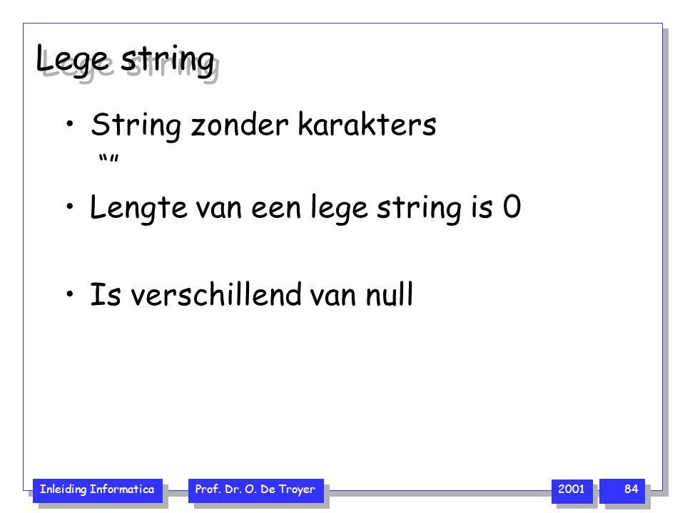 """Inleiding Informatica Prof. Dr. O. De Troyer 2001 84 Lege string String zonder karakters """""""" Lengte van een lege string is 0 Is verschillend van null"""