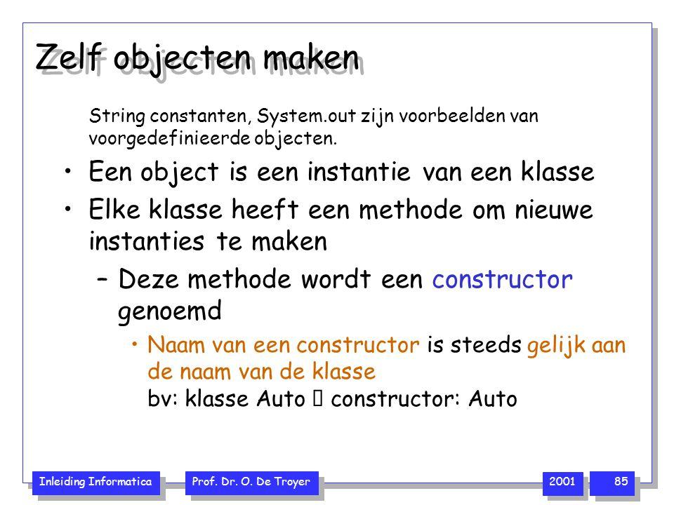 Inleiding Informatica Prof. Dr. O. De Troyer 2001 85 Zelf objecten maken String constanten, System.out zijn voorbeelden van voorgedefinieerde objecten