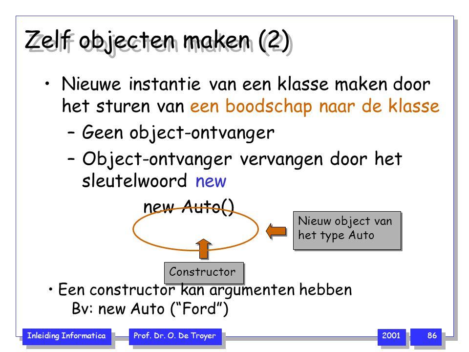 Inleiding Informatica Prof. Dr. O. De Troyer 2001 86 Zelf objecten maken (2) Nieuwe instantie van een klasse maken door het sturen van een boodschap n