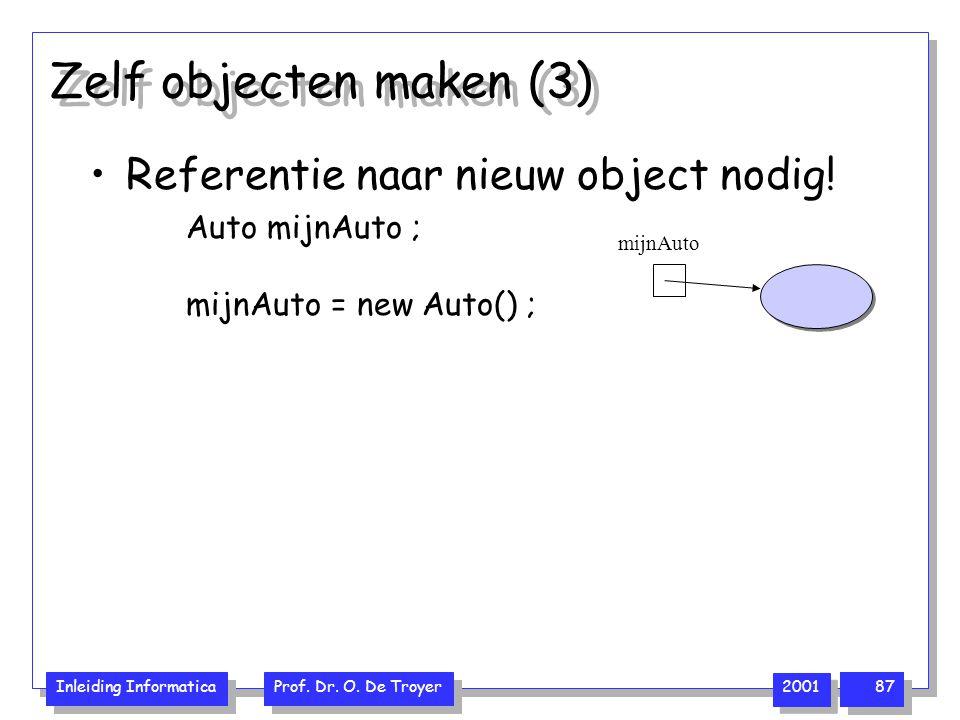 Inleiding Informatica Prof. Dr. O. De Troyer 2001 87 Zelf objecten maken (3) Referentie naar nieuw object nodig! Auto mijnAuto ; mijnAuto = new Auto()