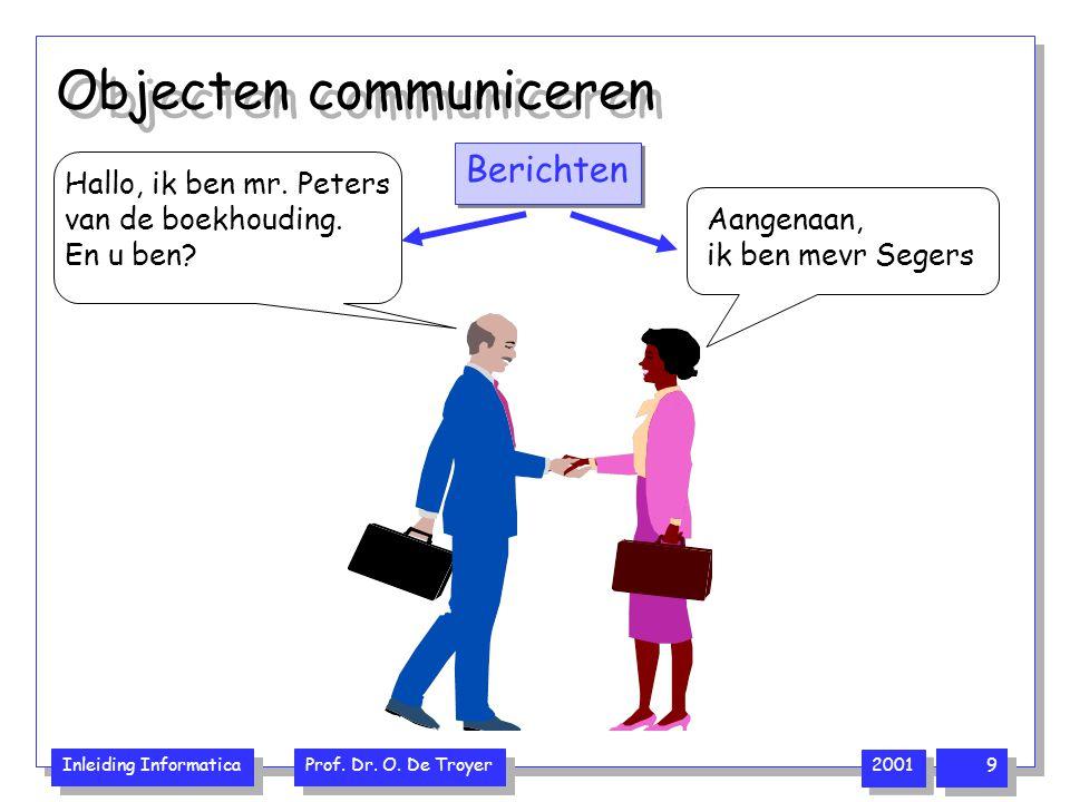 Inleiding Informatica Prof. Dr. O. De Troyer 2001 9 Objecten communiceren Aangenaan, ik ben mevr Segers Hallo, ik ben mr. Peters van de boekhouding. E