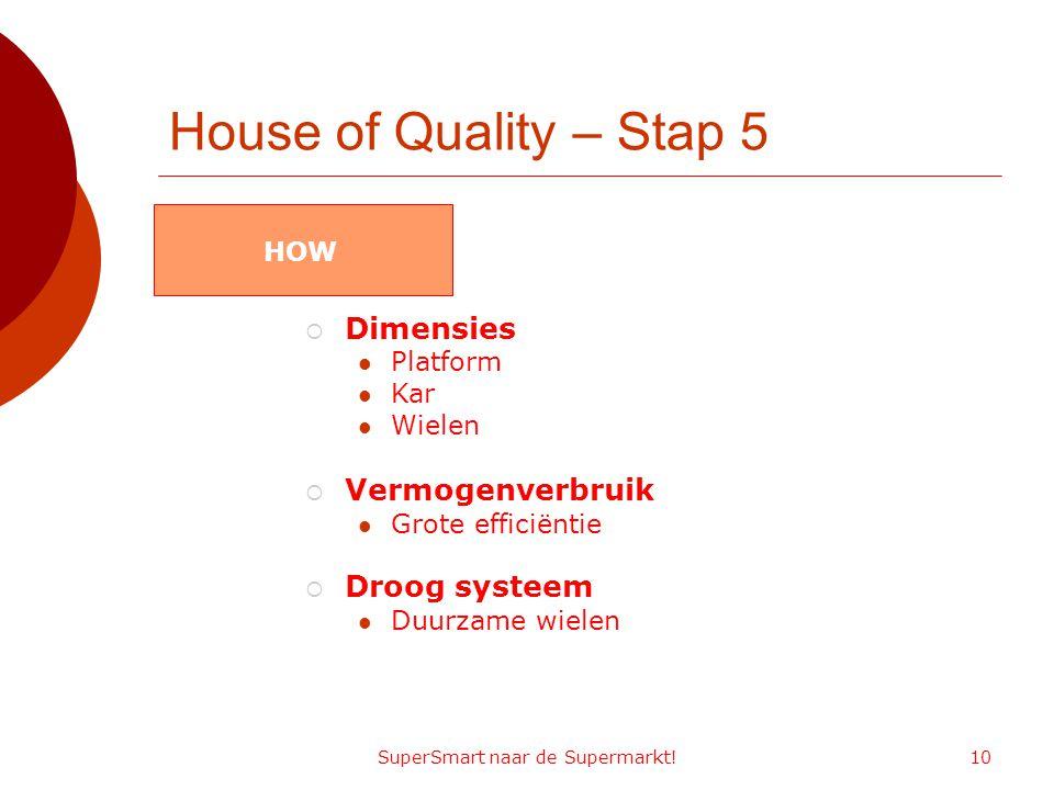 SuperSmart naar de Supermarkt!10 House of Quality – Stap 5  Dimensies Platform Kar Wielen  Vermogenverbruik Grote efficiëntie  Droog systeem Duurzame wielen HOW