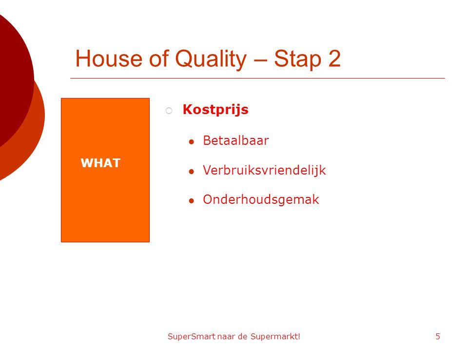 SuperSmart naar de Supermarkt!5 House of Quality – Stap 2 WHAT  Kostprijs Betaalbaar Verbruiksvriendelijk Onderhoudsgemak