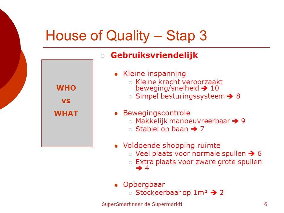 SuperSmart naar de Supermarkt!6 House of Quality – Stap 3 WHO vs WHAT  Gebruiksvriendelijk Kleine inspanning  Kleine kracht veroorzaakt beweging/sne