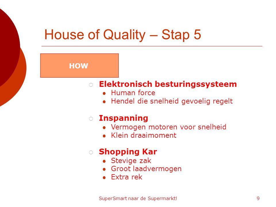 SuperSmart naar de Supermarkt!9 House of Quality – Stap 5  Elektronisch besturingssysteem Human force Hendel die snelheid gevoelig regelt  Inspannin