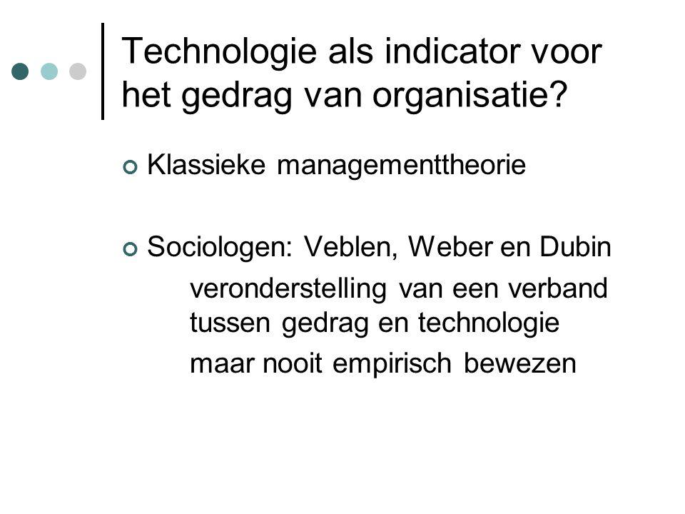 Technologie als indicator voor het gedrag van organisatie? Klassieke managementtheorie Sociologen: Veblen, Weber en Dubin veronderstelling van een ver