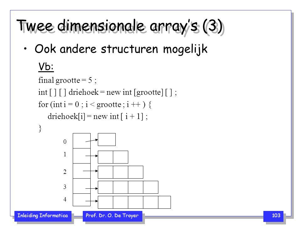 Inleiding Informatica Prof. Dr. O. De Troyer 103 Twee dimensionale array's (3) Ook andere structuren mogelijk Vb: final grootte = 5 ; int [ ] [ ] drie