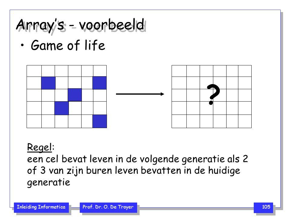 Inleiding Informatica Prof. Dr. O. De Troyer 105 Array's - voorbeeld Game of life ? Regel: een cel bevat leven in de volgende generatie als 2 of 3 van