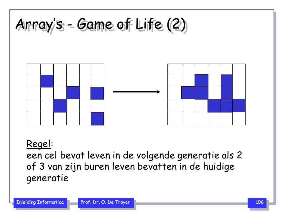 Inleiding Informatica Prof. Dr. O. De Troyer 106 Array's - Game of Life (2) Regel: een cel bevat leven in de volgende generatie als 2 of 3 van zijn bu