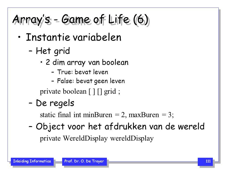 Inleiding Informatica Prof. Dr. O. De Troyer 111 Array's - Game of Life (6) Instantie variabelen –Het grid 2 dim array van boolean –True: bevat leven