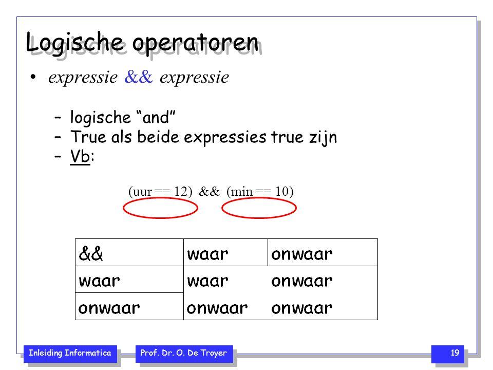 "Inleiding Informatica Prof. Dr. O. De Troyer 19 Logische operatoren expressie && expressie –logische ""and"" –True als beide expressies true zijn –Vb: ("