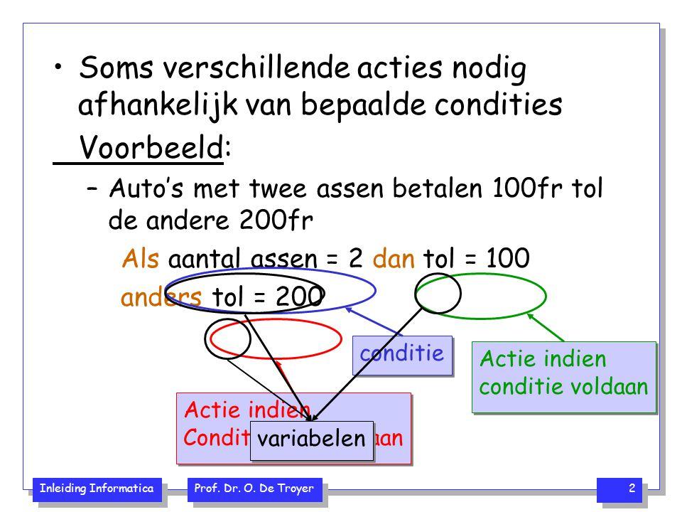 Inleiding Informatica Prof. Dr. O. De Troyer 2 Soms verschillende acties nodig afhankelijk van bepaalde condities Voorbeeld: –Auto's met twee assen be