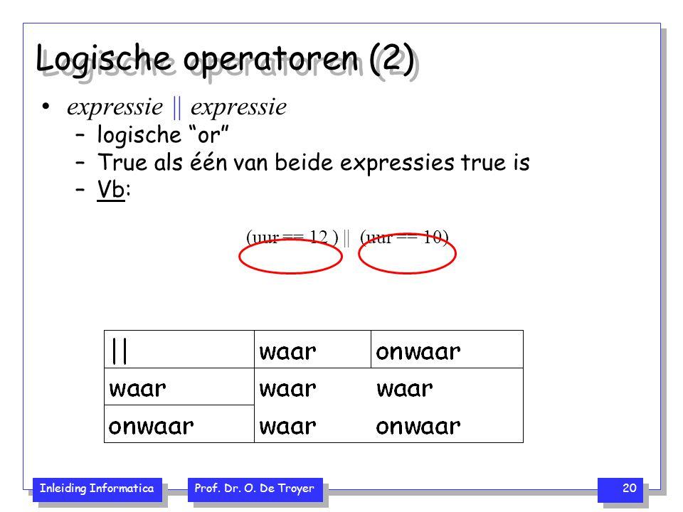 "Inleiding Informatica Prof. Dr. O. De Troyer 20 Logische operatoren (2) expressie || expressie –logische ""or"" –True als één van beide expressies true"