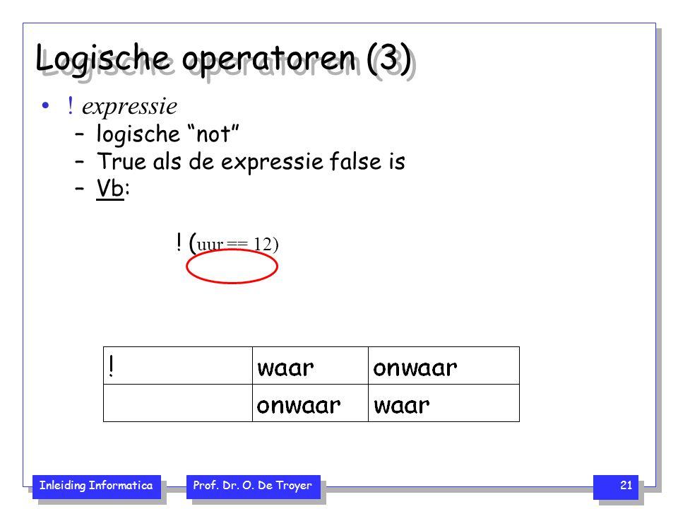 """Inleiding Informatica Prof. Dr. O. De Troyer 21 Logische operatoren (3) ! expressie –logische """"not"""" –True als de expressie false is –Vb: ! ( uur == 12"""