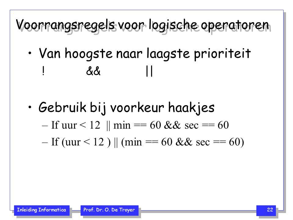 Inleiding Informatica Prof. Dr. O. De Troyer 22 Voorrangsregels voor logische operatoren Van hoogste naar laagste prioriteit ! && || Gebruik bij voork