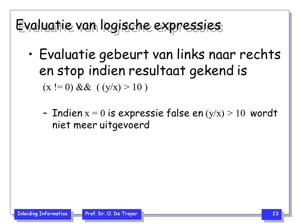 Inleiding Informatica Prof. Dr. O. De Troyer 23 Evaluatie van logische expressies Evaluatie gebeurt van links naar rechts en stop indien resultaat gek