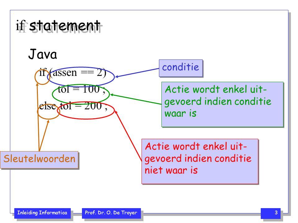 Inleiding Informatica Prof. Dr. O. De Troyer 3 if statement Java if (assen == 2) tol = 100 ; else tol = 200 ; conditie Actie wordt enkel uit- gevoerd