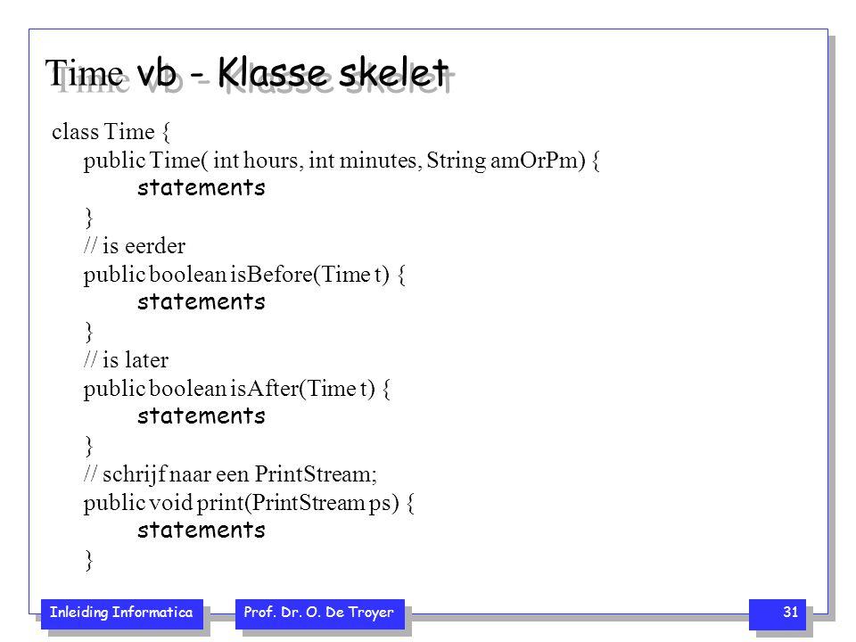 Inleiding Informatica Prof. Dr. O. De Troyer 31 Time vb - Klasse skelet class Time { public Time( int hours, int minutes, String amOrPm) { statements