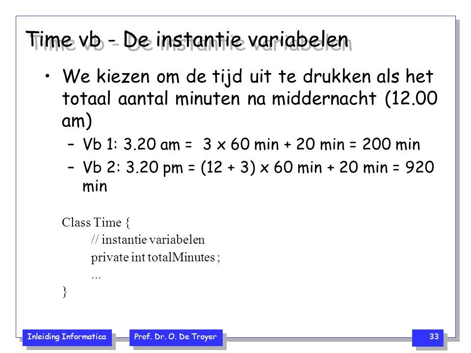 Inleiding Informatica Prof. Dr. O. De Troyer 33 Time vb - De instantie variabelen We kiezen om de tijd uit te drukken als het totaal aantal minuten na
