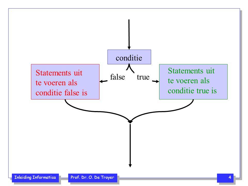 Inleiding Informatica Prof. Dr. O. De Troyer 4 conditie Statements uit te voeren als conditie true is true Statements uit te voeren als conditie false
