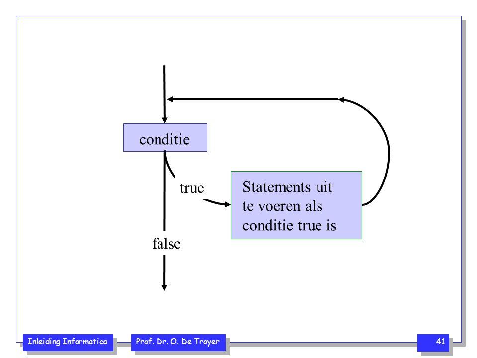 Inleiding Informatica Prof. Dr. O. De Troyer 41 conditie Statements uit te voeren als conditie true is true false