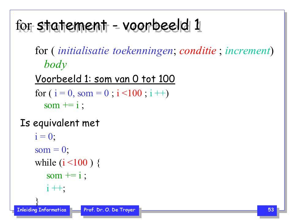 Inleiding Informatica Prof. Dr. O. De Troyer 53 for statement - voorbeeld 1 for ( initialisatie toekenningen; conditie ; increment) body Voorbeeld 1:
