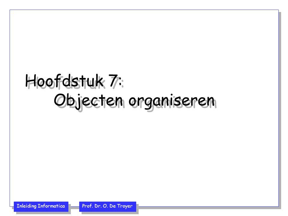 Inleiding Informatica Prof. Dr. O. De Troyer Hoofdstuk 7: Objecten organiseren
