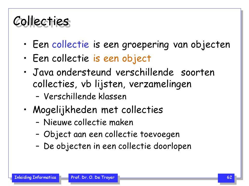 Inleiding Informatica Prof. Dr. O. De Troyer 62 Collecties Een collectie is een groepering van objecten Een collectie is een object Java ondersteund v
