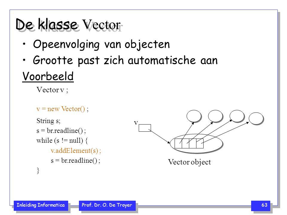 Inleiding Informatica Prof. Dr. O. De Troyer 63 De klasse Vector Opeenvolging van objecten Grootte past zich automatische aan Voorbeeld Vector v ; v V