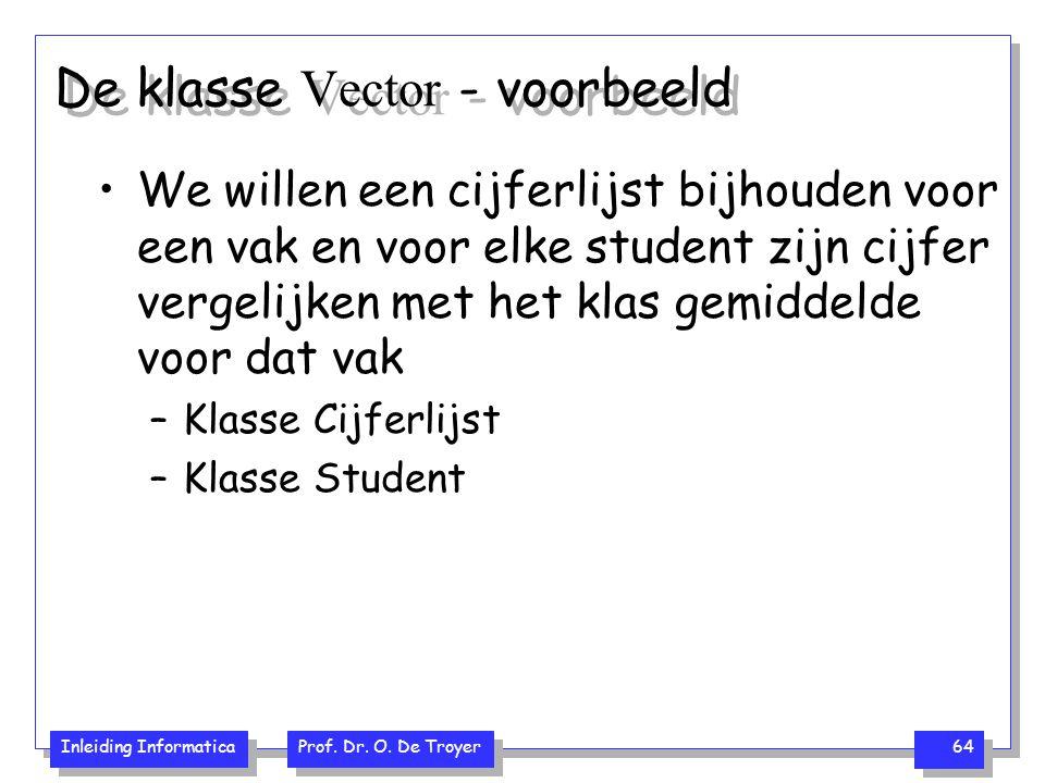 Inleiding Informatica Prof. Dr. O. De Troyer 64 De klasse Vector - voorbeeld We willen een cijferlijst bijhouden voor een vak en voor elke student zij