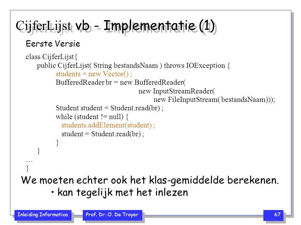 Inleiding Informatica Prof. Dr. O. De Troyer 67 CijferLijst vb - Implementatie (1) Eerste Versie class CijferLijst{ public CijferLijst( String bestand
