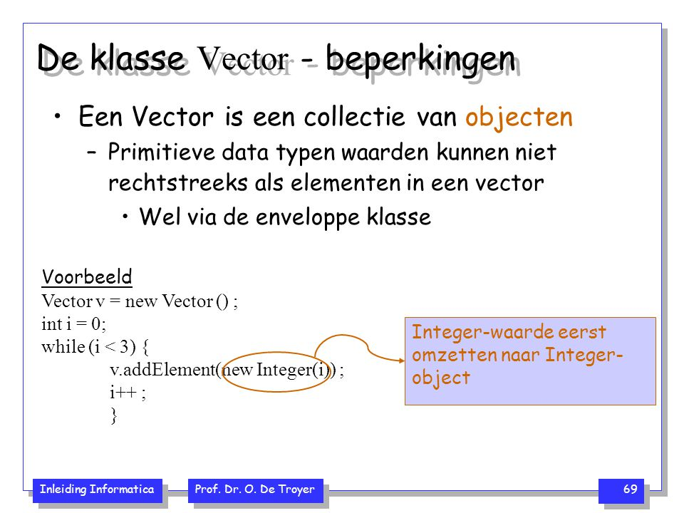 Inleiding Informatica Prof. Dr. O. De Troyer 69 Voorbeeld Vector v = new Vector () ; int i = 0; while (i < 3) { v.addElement(new Integer(i)) ; i++ ; }