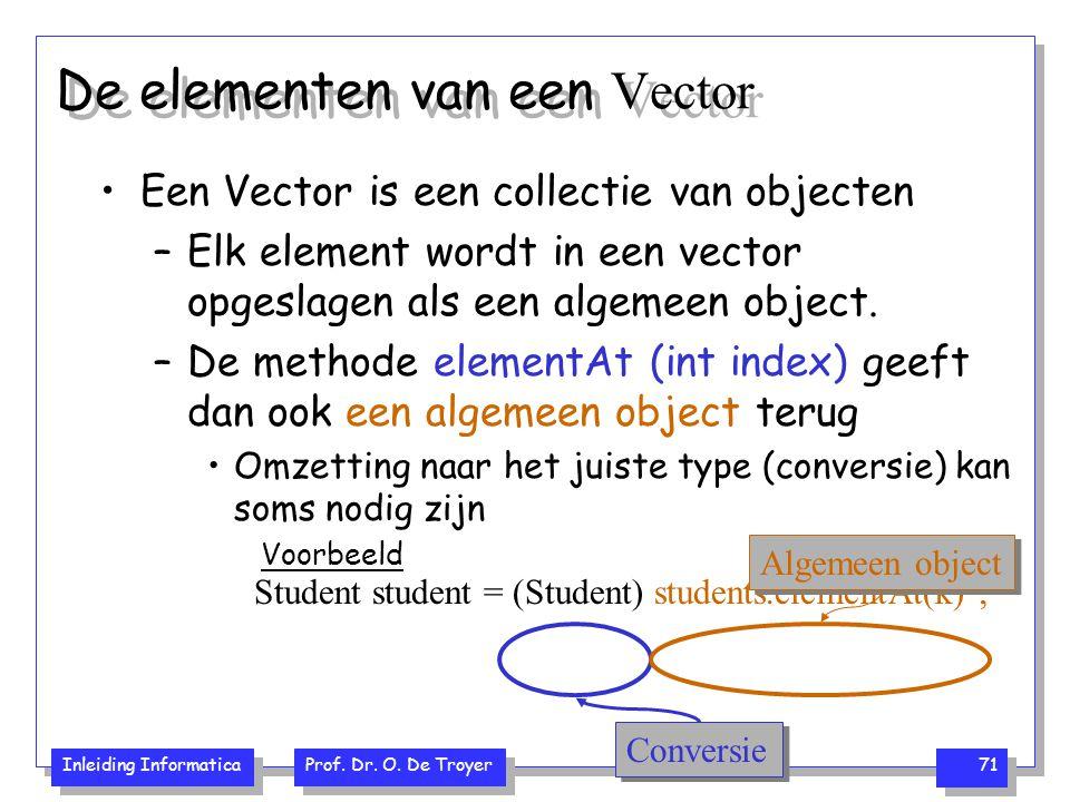 Inleiding Informatica Prof. Dr. O. De Troyer 71 De elementen van een Vector Een Vector is een collectie van objecten –Elk element wordt in een vector