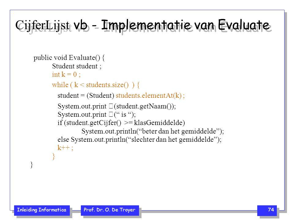 Inleiding Informatica Prof. Dr. O. De Troyer 74 CijferLijst vb - Implementatie van Evaluate public void Evaluate() { Student student ; int k = 0 ; whi