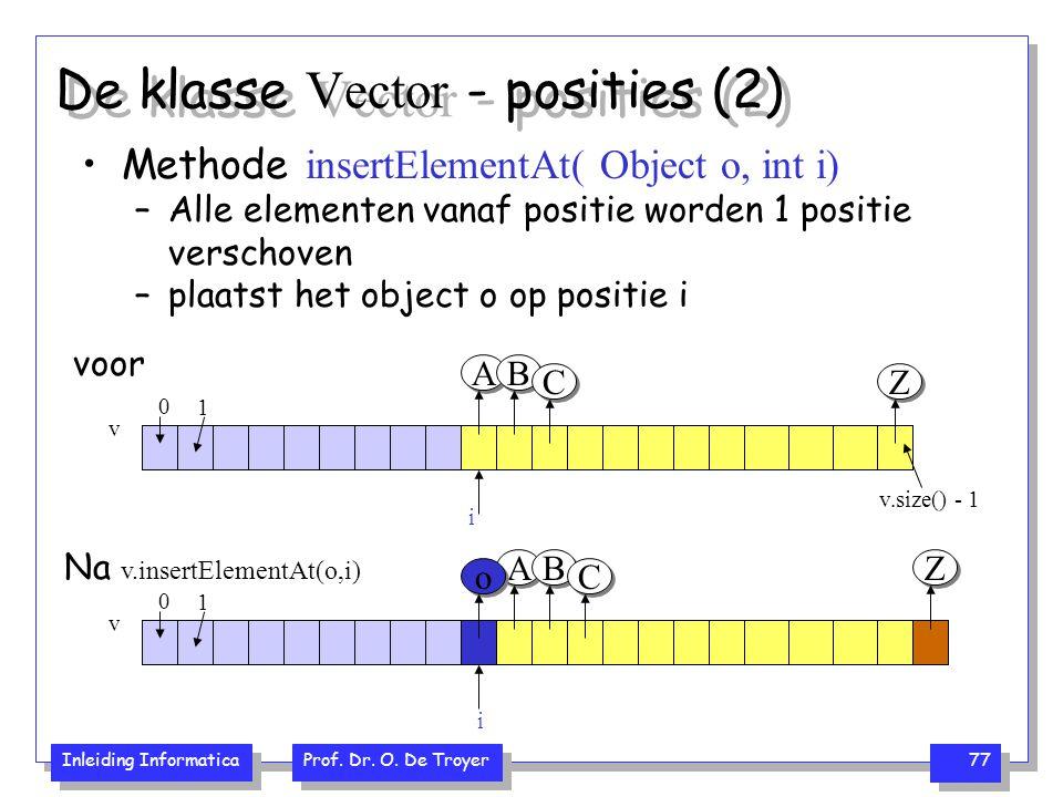 Inleiding Informatica Prof. Dr. O. De Troyer 77 De klasse Vector - posities (2) Methode insertElementAt( Object o, int i) –Alle elementen vanaf positi