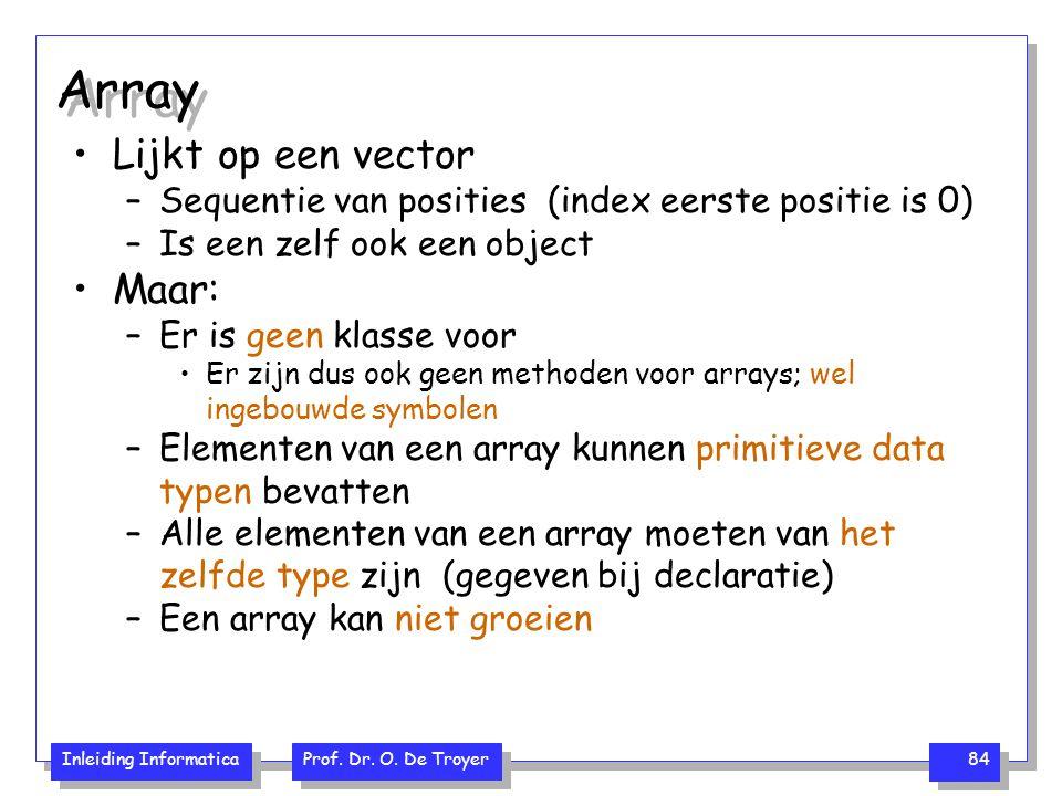 Inleiding Informatica Prof. Dr. O. De Troyer 84 Array Lijkt op een vector –Sequentie van posities (index eerste positie is 0) –Is een zelf ook een obj