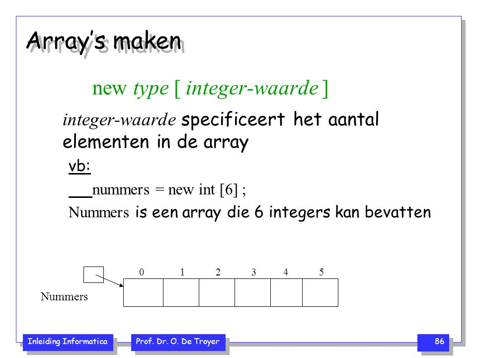 Inleiding Informatica Prof. Dr. O. De Troyer 86 Array's maken new type [ integer-waarde ] integer-waarde specificeert het aantal elementen in de array