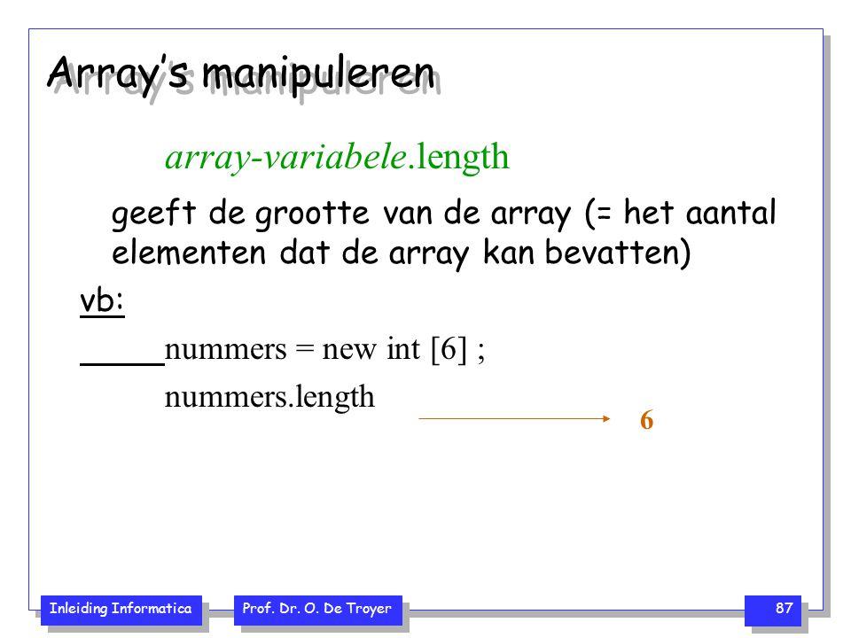 Inleiding Informatica Prof. Dr. O. De Troyer 87 Array's manipuleren array-variabele.length geeft de grootte van de array (= het aantal elementen dat d