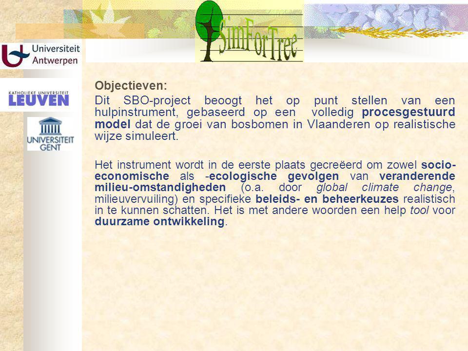 Objectieven: Dit SBO-project beoogt het op punt stellen van een hulpinstrument, gebaseerd op een volledig procesgestuurd model dat de groei van bosbomen in Vlaanderen op realistische wijze simuleert.