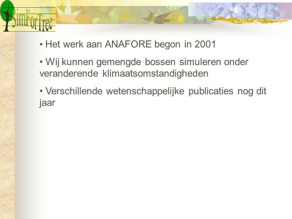 Het werk aan ANAFORE begon in 2001 Wij kunnen gemengde bossen simuleren onder veranderende klimaatsomstandigheden Verschillende wetenschappelijke publicaties nog dit jaar
