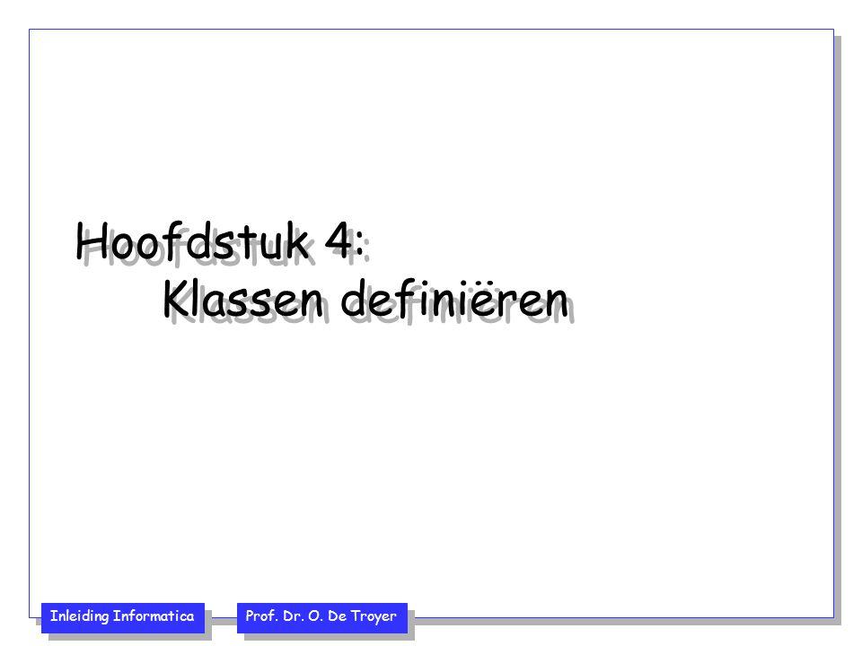 Inleiding Informatica Prof. Dr. O. De Troyer Hoofdstuk 4: Klassen definiëren