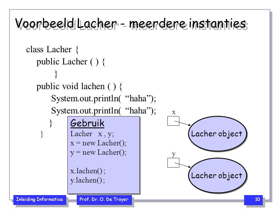 Inleiding Informatica Prof. Dr. O. De Troyer 10 Voorbeeld Lacher - meerdere instanties class Lacher { public Lacher ( ) { } public void lachen ( ) { S