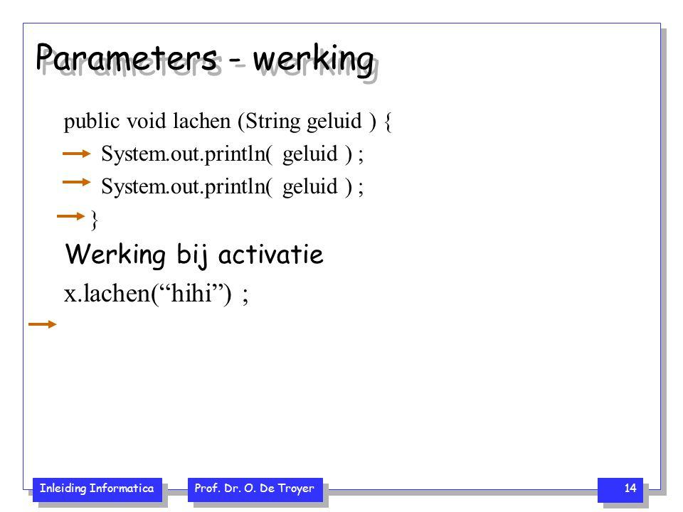 Inleiding Informatica Prof. Dr. O. De Troyer 14 Parameters - werking public void lachen (String geluid ) { System.out.println( geluid ) ; } Werking bi