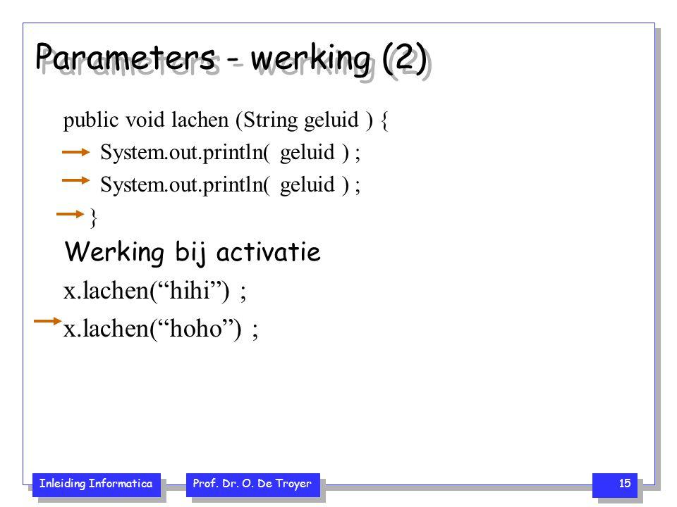 Inleiding Informatica Prof. Dr. O. De Troyer 15 Parameters - werking (2) public void lachen (String geluid ) { System.out.println( geluid ) ; } Werkin