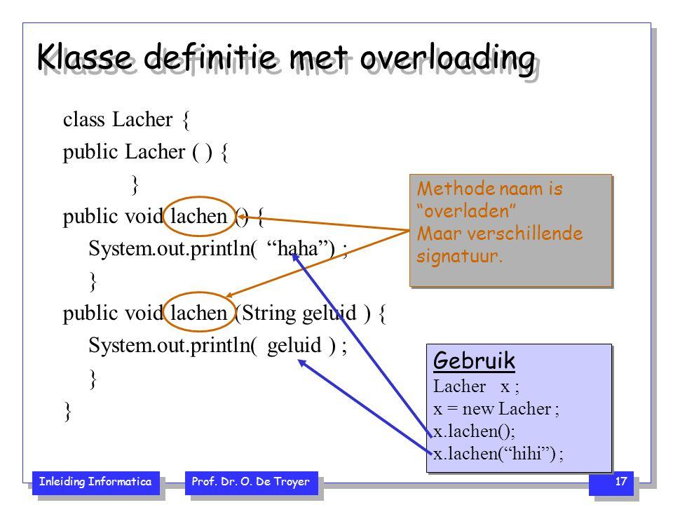 Inleiding Informatica Prof. Dr. O. De Troyer 17 Klasse definitie met overloading class Lacher { public Lacher ( ) { } public void lachen () { System.o